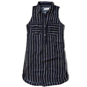Abercrombie & Fitch Drapey Navy Striped Shirtdress